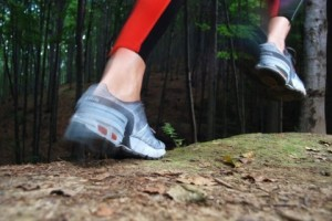 running shoes in forest