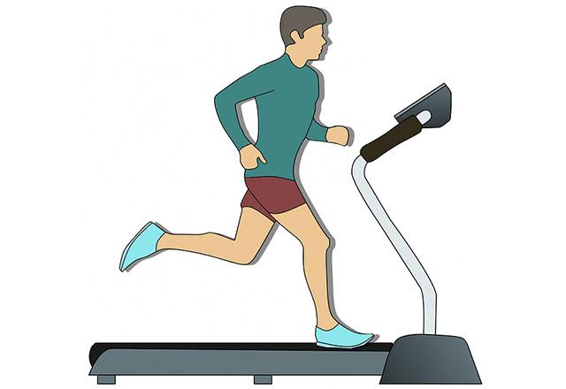 Man running in the treadmill